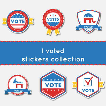I voted stickers collection set Stock Illustratie