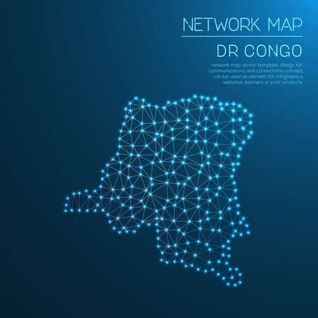 Congo, The Democratic Republic Of The network map. Abstract polygonal map design. Internet connections vector illustration. Illustration
