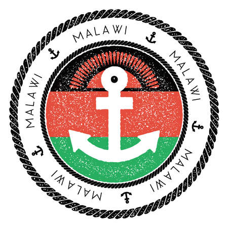 Nautical Travel Stamp with Malawi Flag and Anchor. Marine rubber stamp, with round rope border and anchor symbol on flag background. Vector illustration. Illustration