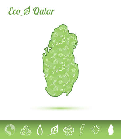 Qatar Eco map filled with green pattern