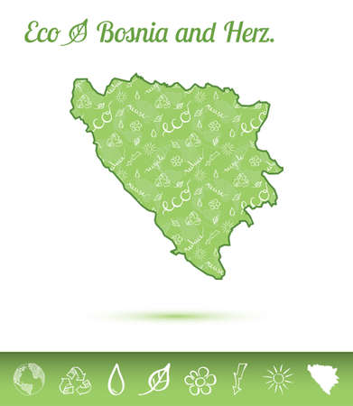 Bosnia and Herzegovina eco map filled with green pattern. Green counrty map with ecology concept design elements. Vector illustration.