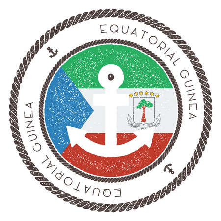 Nautical Travel Stamp with Equatorial Guinea Flag and Anchor Illustration