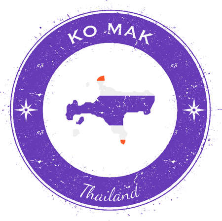 Ko Mak circular patriotic badge. Grunge rubber stamp with island flag, map and name written along circle border, vector illustration.