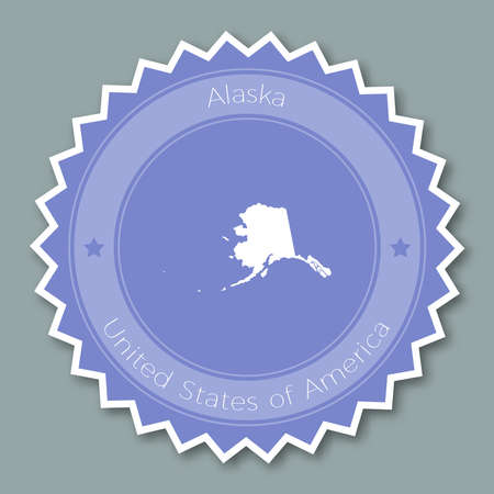 Alaska badge flat design. Round flat style sticker of trendy colors with the state map and name. US state badge vector illustration.