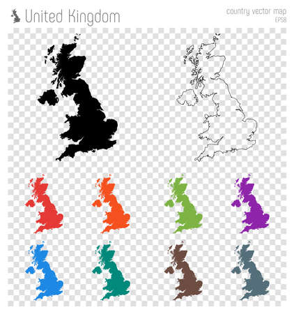 United Kingdom high detailed map. Country silhouette icon. Isolated United Kingdom black map outline. Vector illustration. Illustration