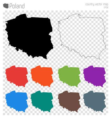 Polska wysoka szczegółowa mapa. Ikona sylwetka kraju. Na białym tle zarys mapy czarny Polska. Ilustracje wektorowe