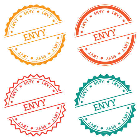 Envy badge isolated on white background. Flat style round label with text.
