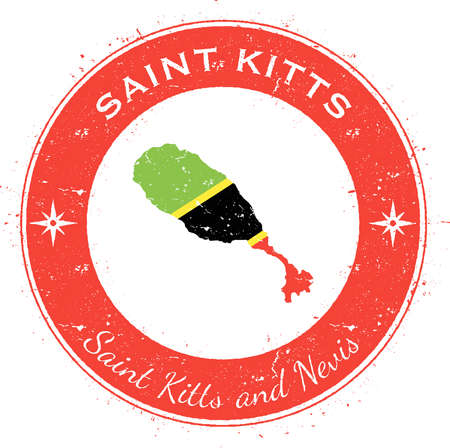 Saint Kitts circular patriotic badge. Grunge rubber stamp with island flag, map and name written along circle border, vector illustration.
