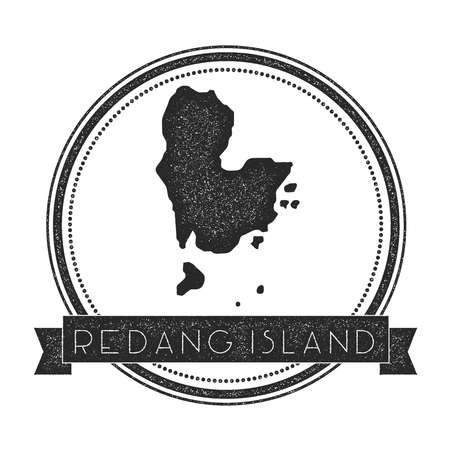 Redang Island map stamp. Retro distressed insignia. Hipster round badge with text banner. Island vector illustration. Illustration