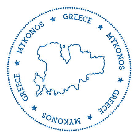 Mykonos map sticker. Hipster and retro style badge. Minimalistic insignia with round dots border. Island vector illustration.