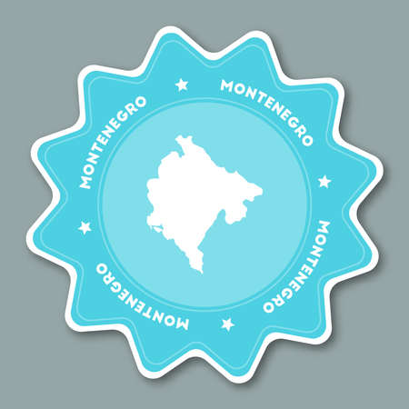 Montenegro map sticker in trendy colors. Star shaped travel sticker with country name and map.