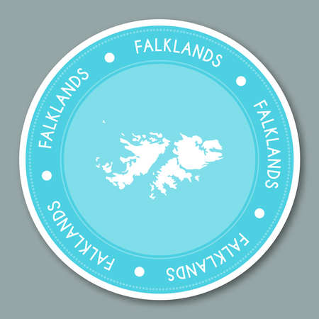 Falkland Islands (Malvinas) label flat sticker design.
