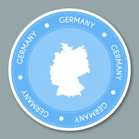 Germany label flat sticker design. Patriotic country map round lable. Country sticker vector illustration.