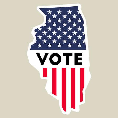 USA Presidential Election 2016 Vote Sticker. Illinois State Map ...