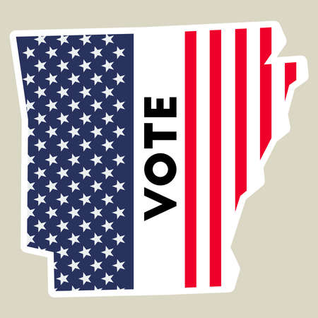 USA presidential election 2016 vote sticker. Arkansas state map outline with US flag. Vote sticker vector illustration. Ilustrace