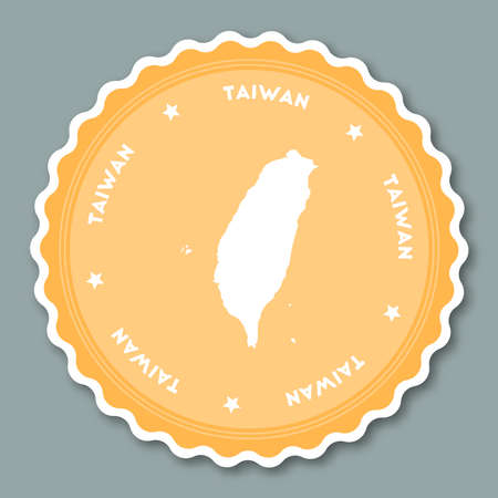 Taiwan, Republic Of China sticker flat design. Round flat style badges of trendy colors with country map and name. Country sticker vector illustration.