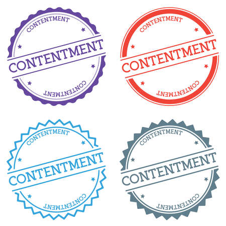 CONTENTMENT badge isolated on white background. Flat style round label with text. Circular emblem vector illustration.