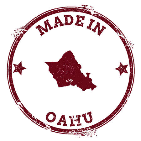 Oahu seal. Vintage island map sticker. Grunge rubber stamp with Made in text and map outline, vector illustration. 矢量图像