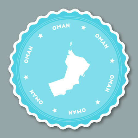Oman sticker flat design. Round flat style badges of trendy colors with country map and name. Country sticker vector illustration. Illustration