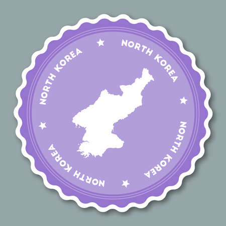 Korea, Democratic People's Republic Of sticker flat design. Round flat style badges of trendy colors with country map and name. Country sticker vector illustration.