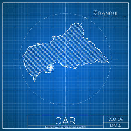 CAR blueprint map template with capital city. Bangui marked on blueprint Central African map. Vector illustration.