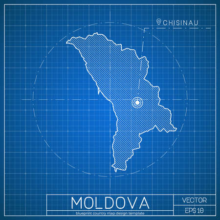 moldova blueprint map template with capital city chisinau marked