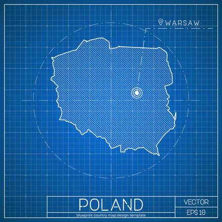 Poland blueprint map template with capital city. Warsaw marked on blueprint Polish map. Vector illustration. Ilustrace