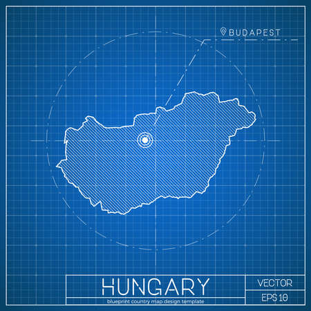 Hungary blueprint map template with capital city. Budapest marked on blueprint Hungarian map. Vector illustration.
