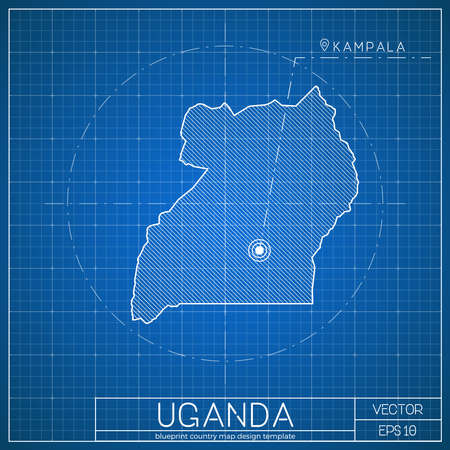 uganda blueprint map template with capital city kampala marked