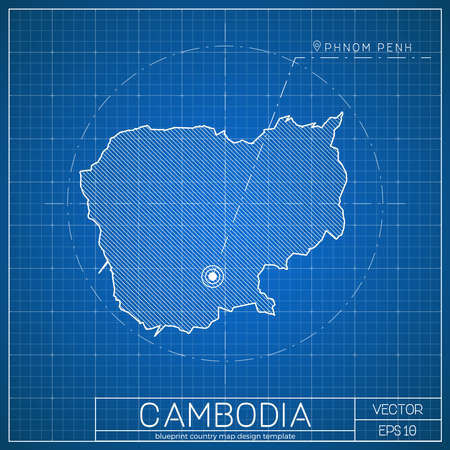 cambodia blueprint map template with capital city phnom penh