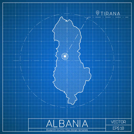 albania blueprint map template with capital city tirana marked