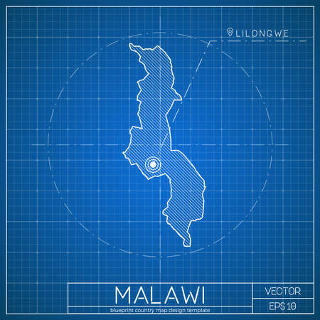 Malawi blueprint map template with capital city. Lilongwe marked on blueprint Malawian map. Vector illustration.