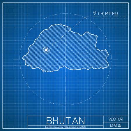 Bhutan blueprint map template with capital city. Thimphu marked on blueprint Bhutanese map. Vector illustration.