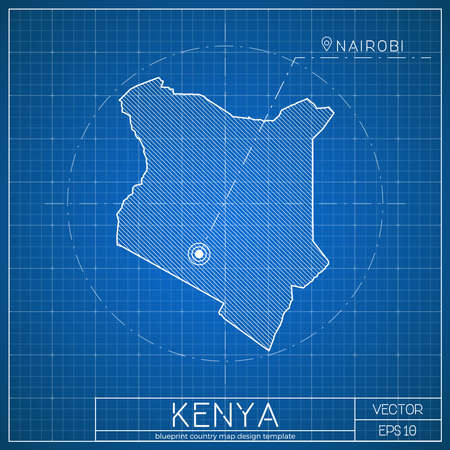 Kenya blueprint map template with capital city. Nairobi marked on blueprint Kenyan map. Vector illustration.