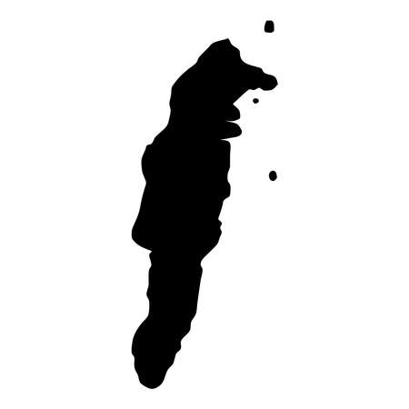 San Andres map. Island silhouette icon. Isolated San Andres black map outline. Vector illustration.
