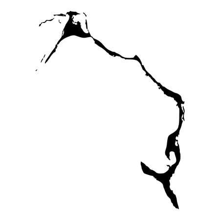 Eleuthera map. Island silhouette icon. Isolated Eleuthera black map outline. Vector illustration.