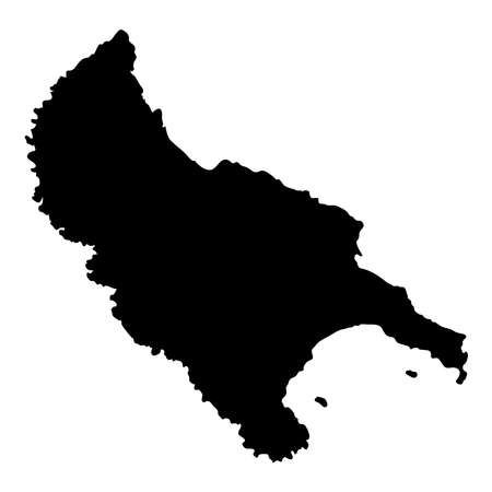 Zakynthos Island map outline vector illustration.
