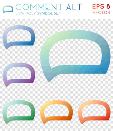 Comment alt geometric polygonal icons. Amusing mosaic style symbol collection. Divine low poly style. Modern design. Comment alt icons set for infographics or presentation.