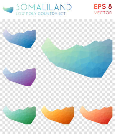 Somaliland geometric polygonal maps, mosaic style country collection. Charming low poly style, modern design. Somaliland polygonal maps for infographics or presentation. Illustration