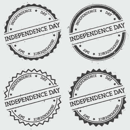 Independence day insignia stamp isolated on white background. Grunge round hipster seal with text, ink texture and splatter and blots, vector illustration. Illustration