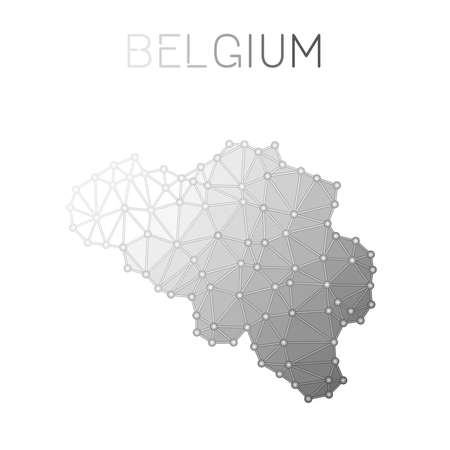 Belgium polygonal vector map. Molecular structure country map design. Network connections polygonal Belgium map in geometric style for your infographics.