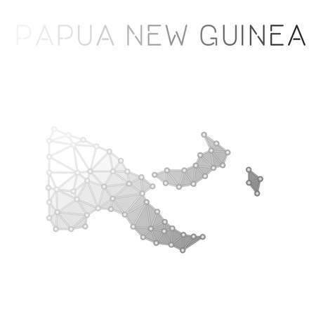 Papua New Guinea polygonal vector map. Molecular structure country map design. Network connections polygonal Papua New Guinea map in geometric style for your infographics.