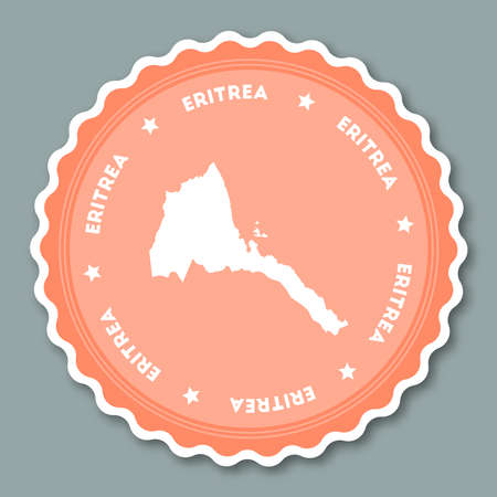 Eritrea sticker flat design. Round flat style badges of trendy colors with country map and name. Country sticker vector illustration.