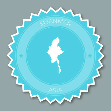 Myanmar badge flat design. Round flat style sticker of trendy colors with country map and name. Country badge vector illustration.