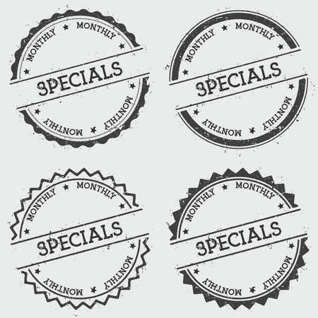 Specials monthly insignia stamp isolated on white background. Grunge round hipster seal with text, ink texture and splatter and blots, vector illustration.