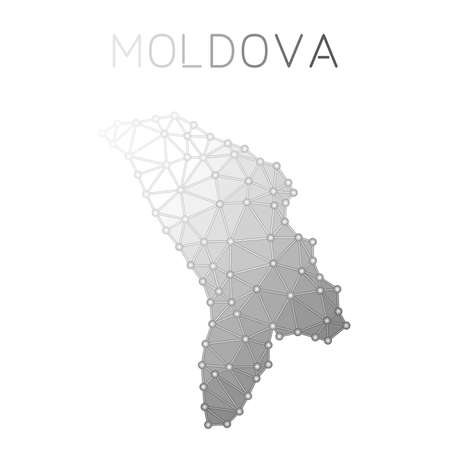 Moldova, Republic of polygonal vector map. Molecular structure country map design. Network connections polygonal Moldova, Republic of map in geometric style for your infographics. Иллюстрация