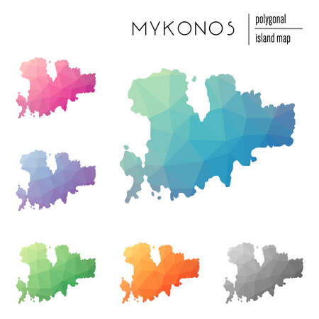 Set of vector polygonal Mykonos maps filled with bright gradient of low poly art. Multicolored island outline in geometric style for your infographics.
