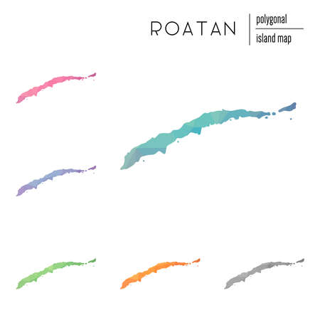 Set of vector polygonal Roatan maps filled with bright gradient of low poly art. Multicolored island outline in geometric style for your infographics.