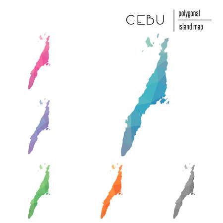 Set of vector polygonal Cebu maps filled with bright gradient of low poly art. Multicolored island outline in geometric style for your infographics.