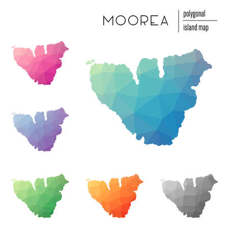Set of vector polygonal Moorea maps filled with bright gradient of low poly art. Multicolored island outline in geometric style for your infographics. Illustration